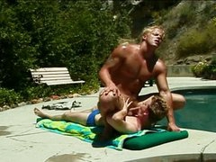 Hot muscled pool chap drilling horny homo twink outdoors
