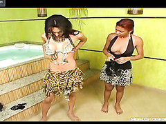 Nude transsexual aching for fucking with her transsexual friend previous to steamy bathroom