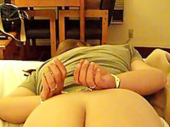 This chubby mature is ready to go some lengths to spice up her marital sex life. In this stolen homemade video, that babe is featured wearing handcuffs face down on their bed, during the time that her spouse gently and carefully lubes her asshole, hidden well between her immense ass cheeks.
