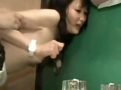 It is a constricted fit in this bathroom, and a constricted fit in her pussy.  But this pair manages to fuck in several different positions, and finally this chab leaves his hot cum inside her, a good creampie for us to see.
