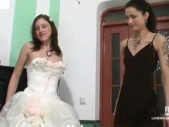 Hawt bride in white nylons savoring strap-on amusement for the last time