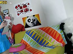 The horny Panda found this time a girl obsessed with him! This beauty has a poster with panda on the wall and draws a picture of him now. She's so slutty and happy that lastly panda visited her but does she knows what his intentions are? Well she maybe a bit innocent and stupid but that's how panda likes it!
