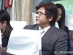 The cute asian schoolgirl got the wrong chair, or perhaps the right one 'cuz she is sitting near a pervert. The fellow doesn't cares that the buss is filled with people, he just takes out his jock and puts her to jerk him. It looks like the schoolgirl is not so innocent 'cuz this little bitch masturbates too!