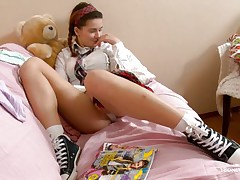 Here young chick Klara is entertaining her viewers by showing her nice, smooth and attractive body with sexy boobs and cherry like hard nipples on the top of those. Then her lust increases and her pants automatically goes off and a appealing twat fingering is taking place which will make u horny.