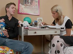 Celia and her boyfriend are studying hard, trying to receive good grades but all her boyfriend can think about is that hawt body out of clothing on. He pretty soon receives her hawt and naked, burying his face in her bald beaver, making her groan and writhe on the bed before getting on top, plowing her deeply.