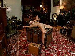 A devilish brunette wearing no thing but her dark hawt underware is dominating and punishing that smokin' hawt brunette. that babe putted clamps on her nipples and electrodes and inserted a sex-toy in her muff in advance of making her stand on her feet for a better humiliation. She is going to enjoy each moment of punishing that hawt body