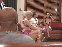 The couples gathered together in a room and the fellows sit quietly as their wife talked about sex and how they should fuck. A fat Chinese prick is being interviewed and his opinion is that this stuff is just like dating. Well now, let's leave 'em to talk as we enjoy how those naughty blonde vaginas have some fun.