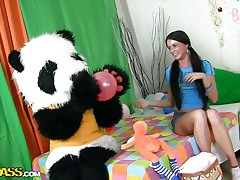 A sweet girl's party can't be complete out of her panda bear. Lovely Jess doesn't needs presents or her friends, that chick only desires her big fluffy panda and his attention. They have great fun, playing with balloons and eating cake. But that is not enough, Jess is a big hotty now and that chick wish Panda to make her feel that.