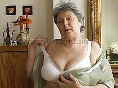 Granny takes off her shirt and brassiere and her heart rate increases as this chick begins massaging these big saggy boobs. Just like in her youth this fucking doxy takes off her clothes to enjoyment men! Granny removes these white pants and discloses her saggy hairy cunt that she's enjoys rubbing. What she's up to next?