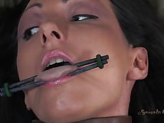 Hot brunette whore Wenona has her tongue, hand and legs widen and tied up on the bed. Then, a chap called Matt comes and sticks his big shlong in that wet muff of hers. This guy begins fucking her so hard and they are one as well as the other groaning with so much pleasure. This babe is such a hawt doxy and that makes Matt very horny.