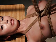 Have a look at this hawt cunt, she's all tied up and hangs there quietly until that babe receives roughly mouth fucked with a dildo. The intensity and brutality of the fucking makes our slut horny! She's not only fucked, the executor slaps her and strangulates her too. After all that he leaves the bitch hanging in the black