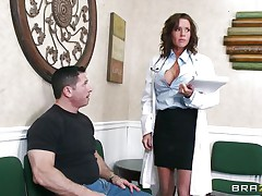 Veronica knows how to take care of her patients. This babe examines this stud and then makes a decision that the perfect treatment for him would be a mean blowjob. The hawt milf doc opens her mouth with pleasure and slips her lips and tongue in that large hard penis. Will she acquire repaid with a large load of semen on her face?