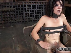 That chair is perfect for miss James. She's naked, belted on it and a bit terrified with what's about to happen. The executor gapes her cunt using metal clamps and some kind of fake penis is filling her womb. The enchanting brunette endures her torture and step by step she learns to like it!