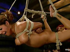 Francesca Le is a hot milf who's bound and getting vibed and dildo-fucked by Maitresse Madeline. Francesca acquires permission to cum and this babe does. Next the position changes and Maitresse acquires the ding-dong and plunges deep into Francesca's taut asshole, making her moan loudly through her ball gag.