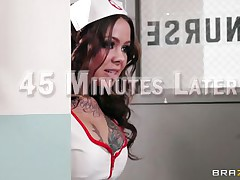 Cute and always cheerful to do her best the lovely doc Julia does everything it takes to make her favorite patient, Jordan, happy. She tries to cheer him up and when that fails that babe uses these moist lips to give his big dick a fleshly suck! Seems that our marvelous doc does a great job, will that babe get cock juice on the face?