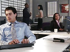 This sexy hottie is having a fight at work with a guy that tries to have a piece of her large tits. Look how that babe moans when this guy starts licking her dark taut pussy. It seems that this guy likes the smack of that lovely dark chocolate. Will that babe get some cock betwixt her juicy lips?