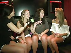 'Money Talks' brings you two hot honeys in a night club where they are 1st challenged to flash tits. Later they dare to get topless and they did it!. They even suck every others nipples. The host with the mic also got topless with them! And they are all cheering, smiling and dancing wildly!