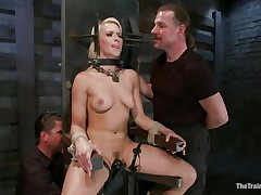 Anikka is in large trouble, positioned in that bondage device that doesn't allows her to move her executor rubs her bald bawdy cleft with a sextoy until they have sufficiently with her. Her body is fit, nice tits, a marvelous face with pink lips and a bubble butt that merits a small in number slaps on it, and that's exactly what it gets