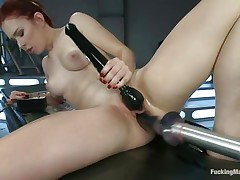 Young Melody Jordan is loving this fucking machine and a sex toy for her clit. Her love tunnel takes a pounding as this babe turns the dial up, making the machine fuck her even faster. After a short break, this babe goes nearly upside down to receive drilled, her shaved snatch taking a beating that this babe loves. She's hot!
