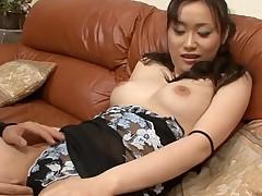 Man fingers wicked Oriental chick in nylons zealously
