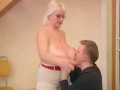 Bulky Blonde Nailed By Fellow