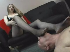 Dominant cutie wants him to take up with the tongue her feet