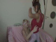 lesbians fucking with strap vibrator