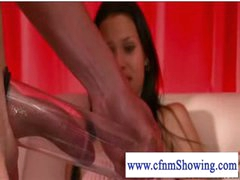 Cfnm beauties pumping and blowing shlong