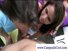 Cfnm college teens gives freshman a hawt blow job