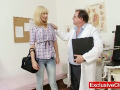 Blonde paris visits nasty old gyno doctor to have her cunt examined